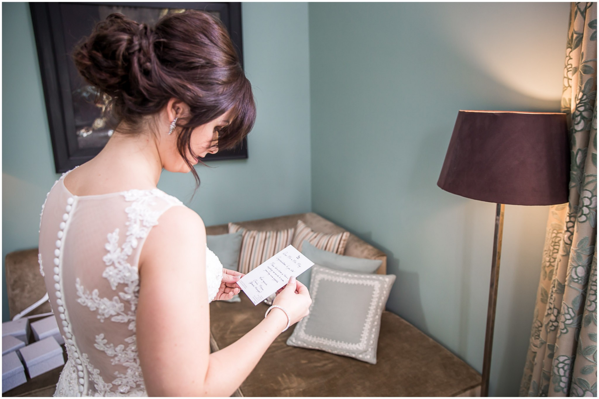 Bowood Hotel Bride reading wedding card