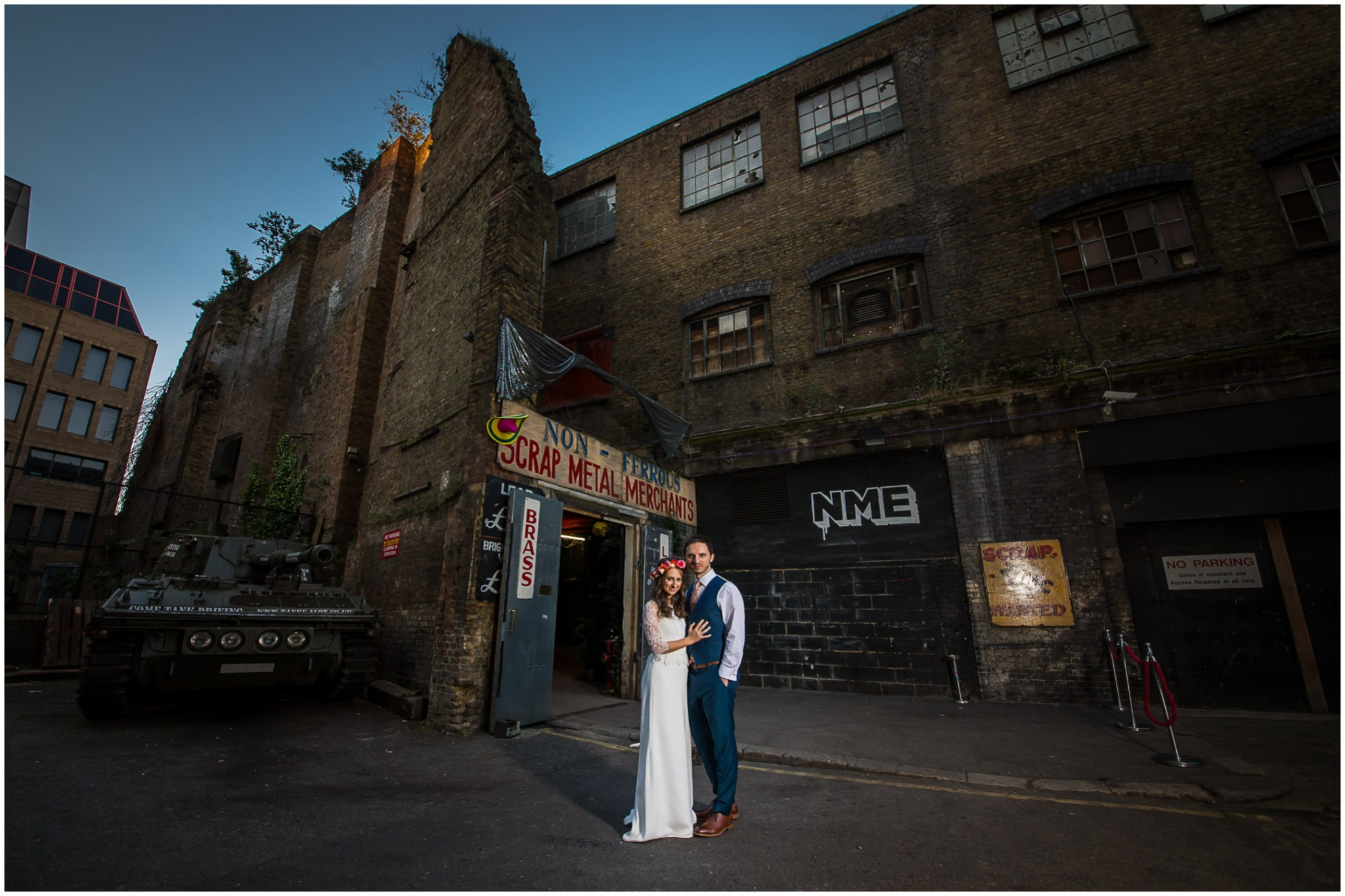 Bride & Groom outside Islington Metal Works Wedding Photographer