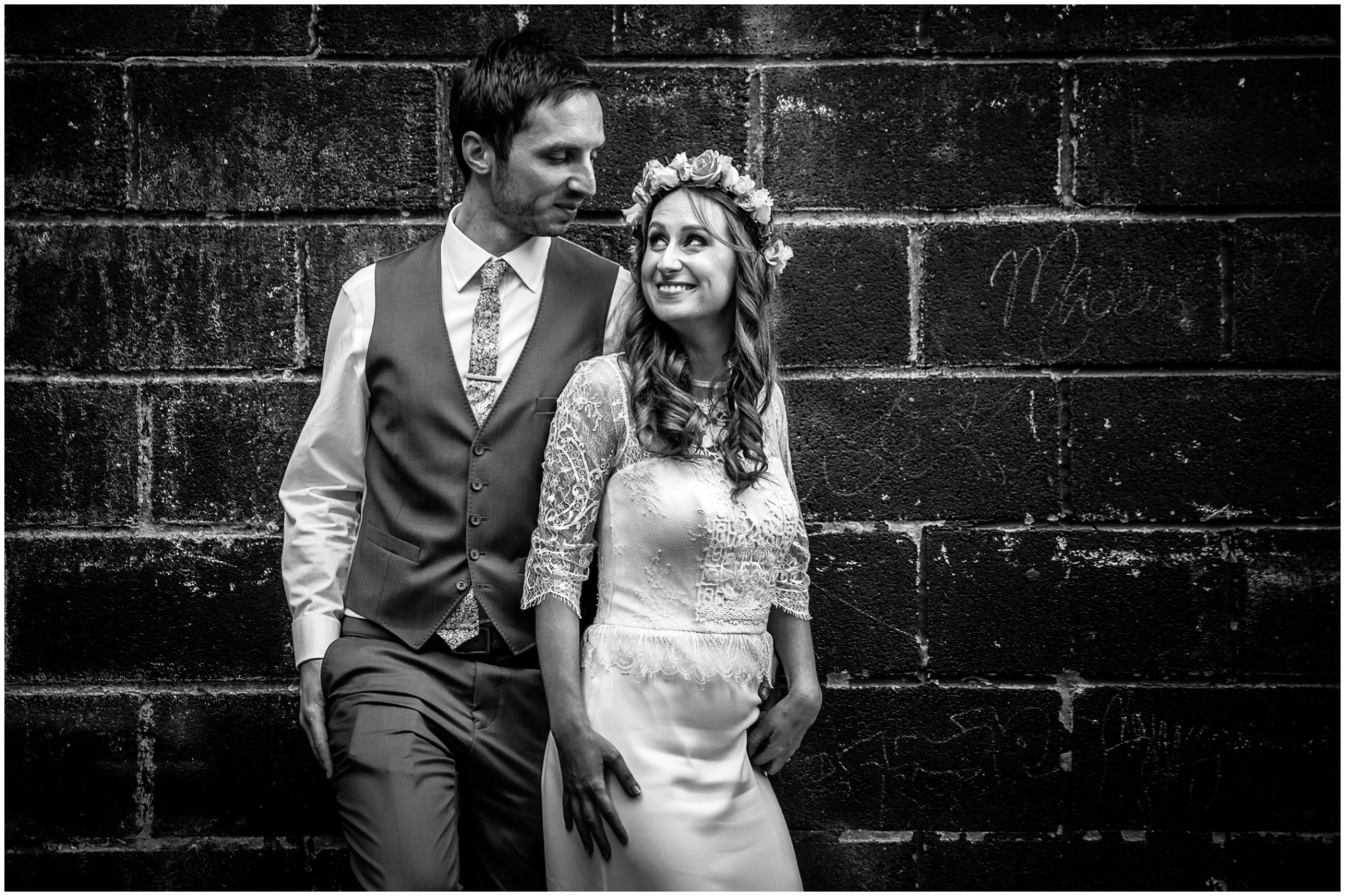Islington Metal Works Wedding -Bride & Groom in Black & White