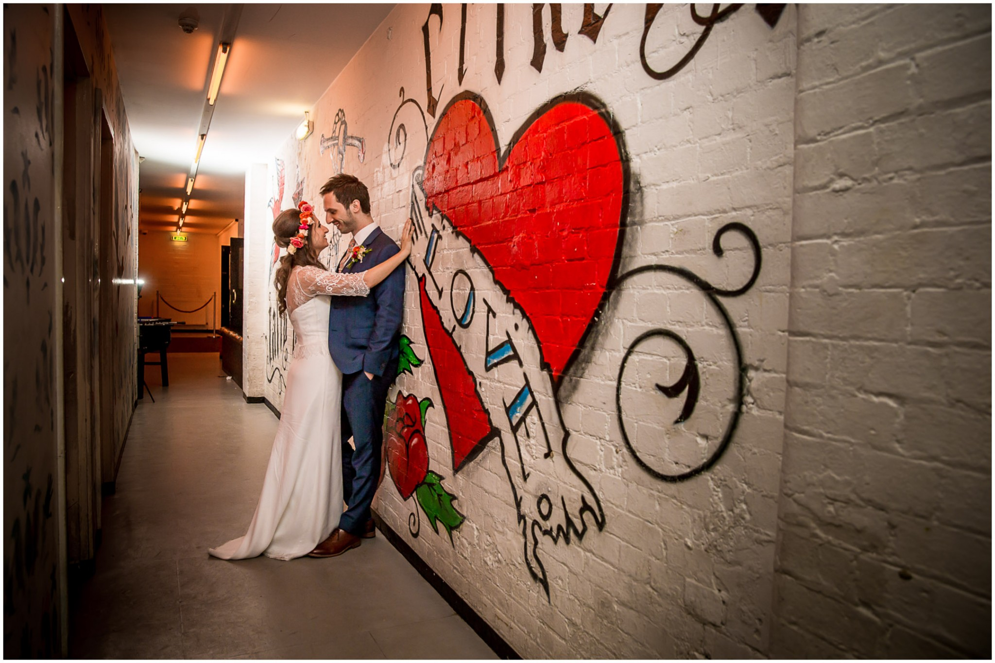 Islington Metal Works Wedding -Bride and Groom by Love mural