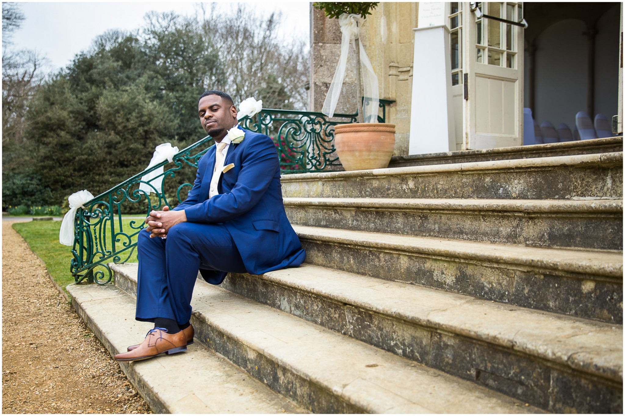 Highcliffe Castle Wedding groom before the ceremony