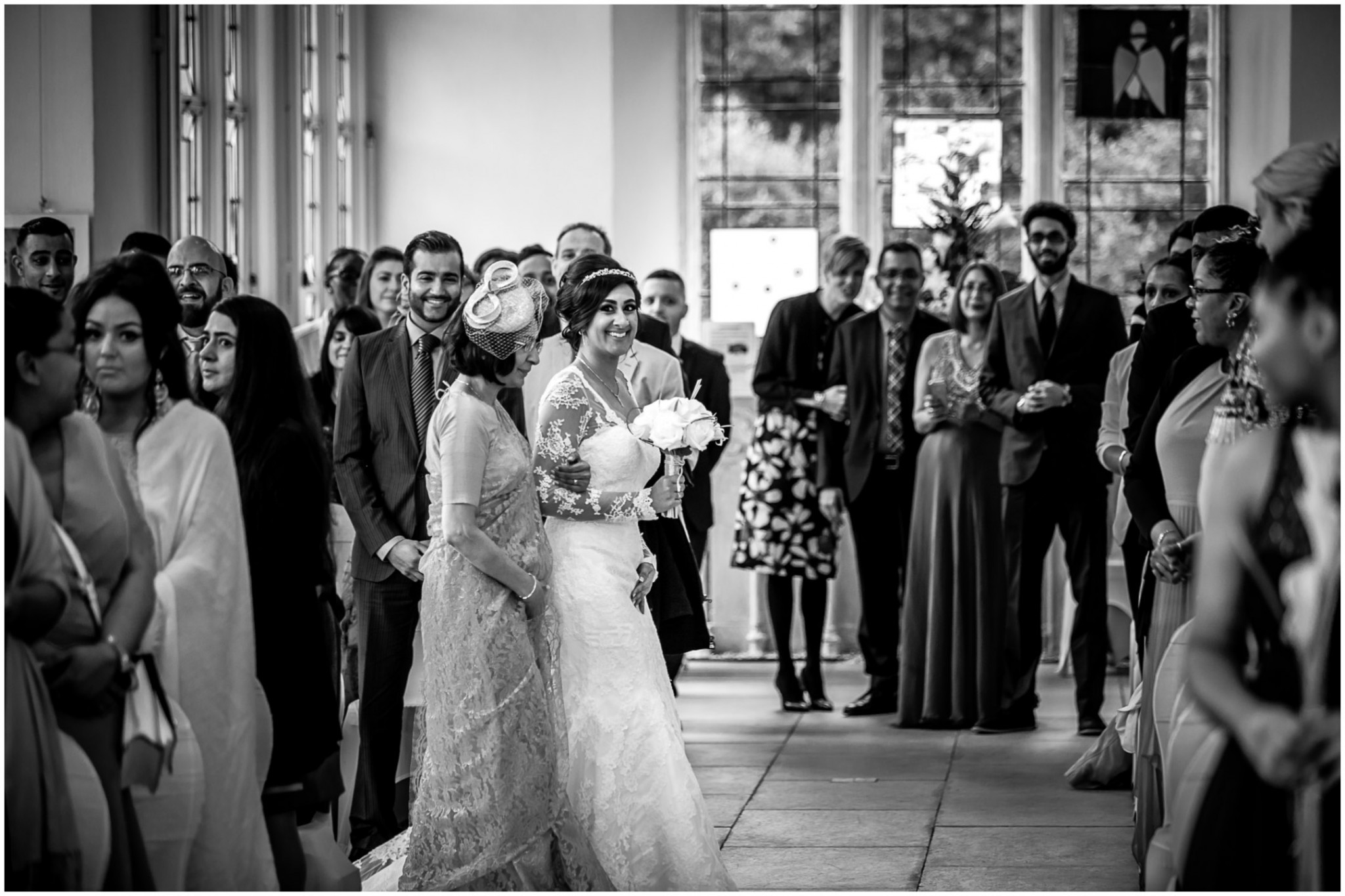 Highcliffe Castle Wedding Bride and Bride's Mother walking into the ceremony
