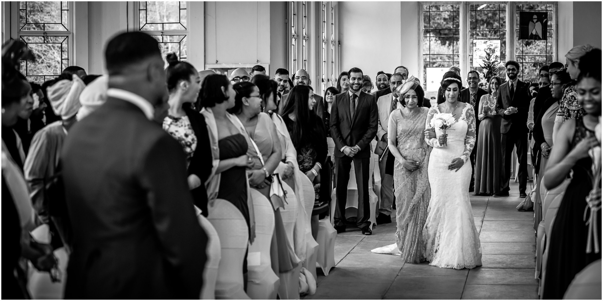 Highcliffe Castle Wedding Bride walking down the aisle