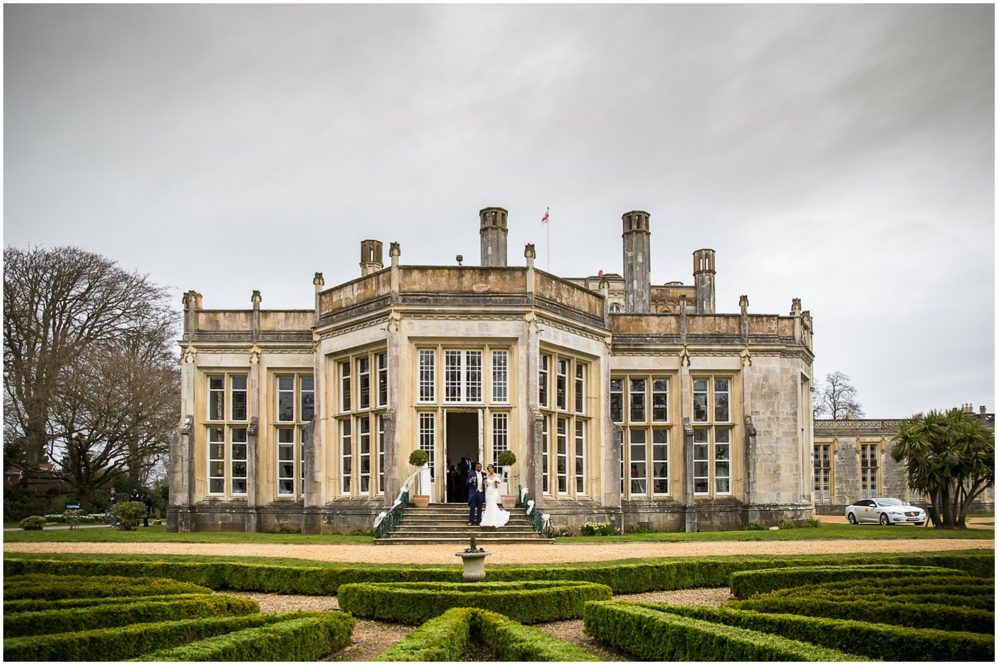 Highcliffe Castle Wedding Couple outside the ceremony room