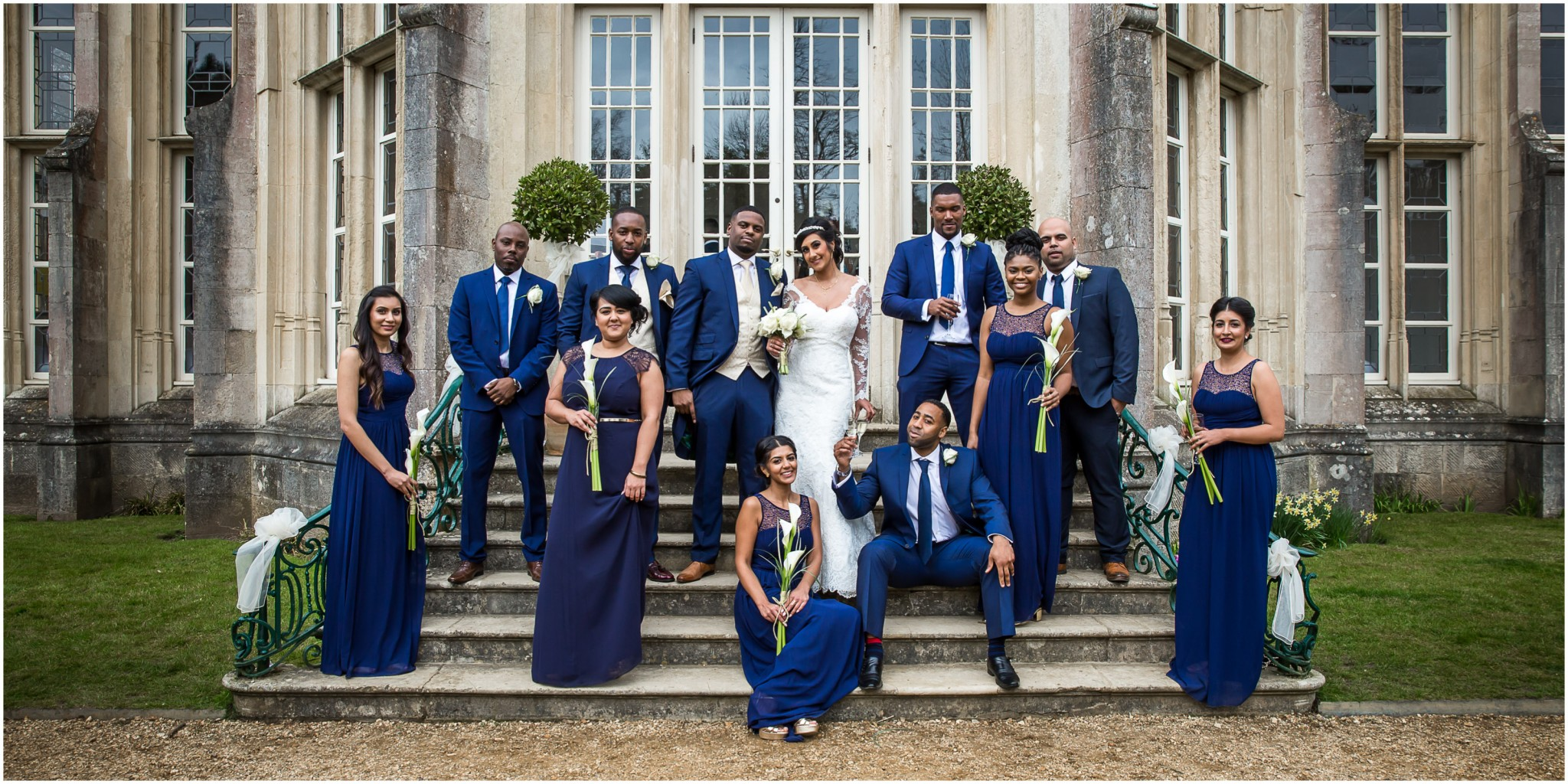 Highcliffe Castle Wedding Wedding Party Group Shot