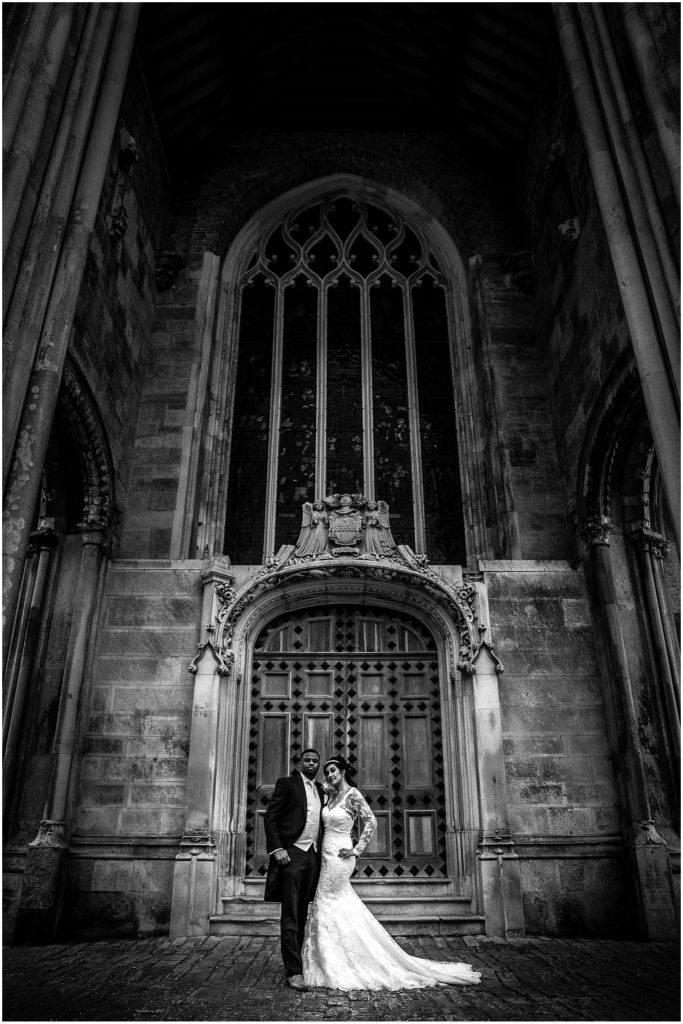 Highcliffe Castle Wedding bride & Groom in front of old doorway