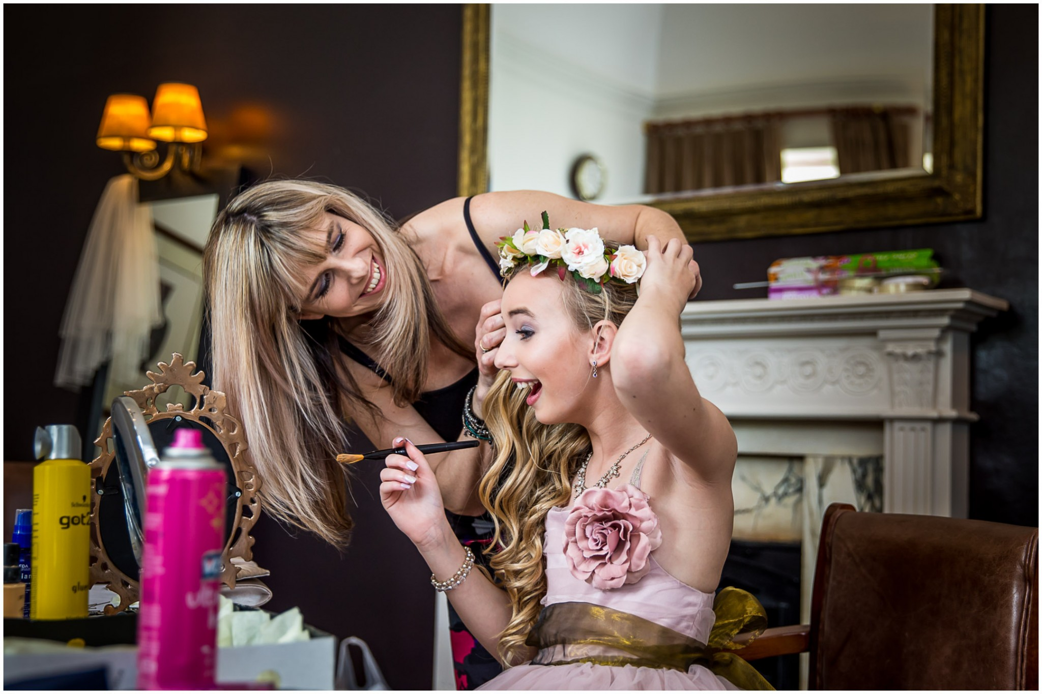 Highfield Park Wedding Photography Bridesmaids floral headpiece