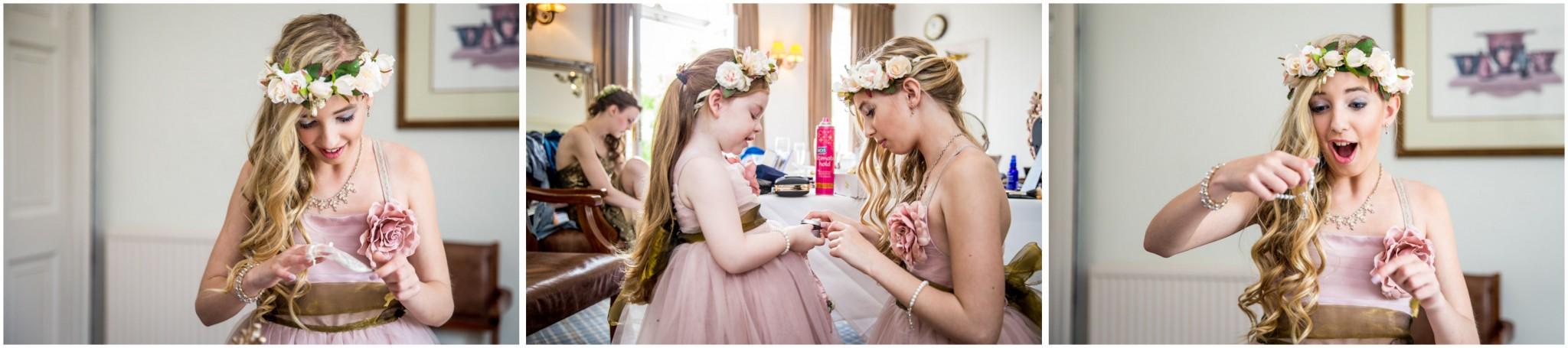 Highfield Park Wedding Photography Bridesmaids opening gifts