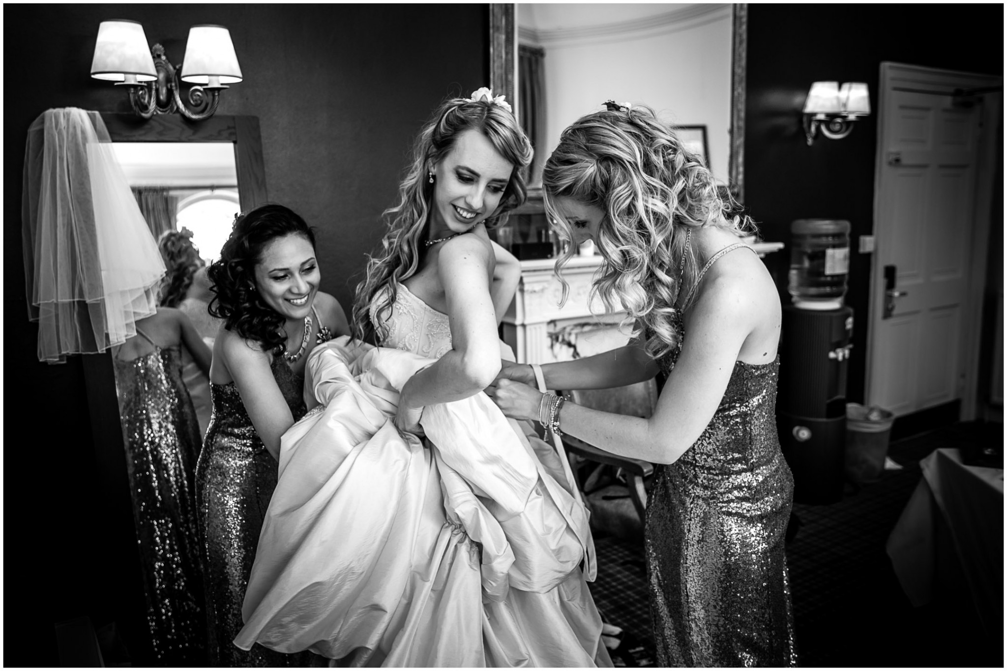 Highfield Park Wedding Photographer Bride getting into dress