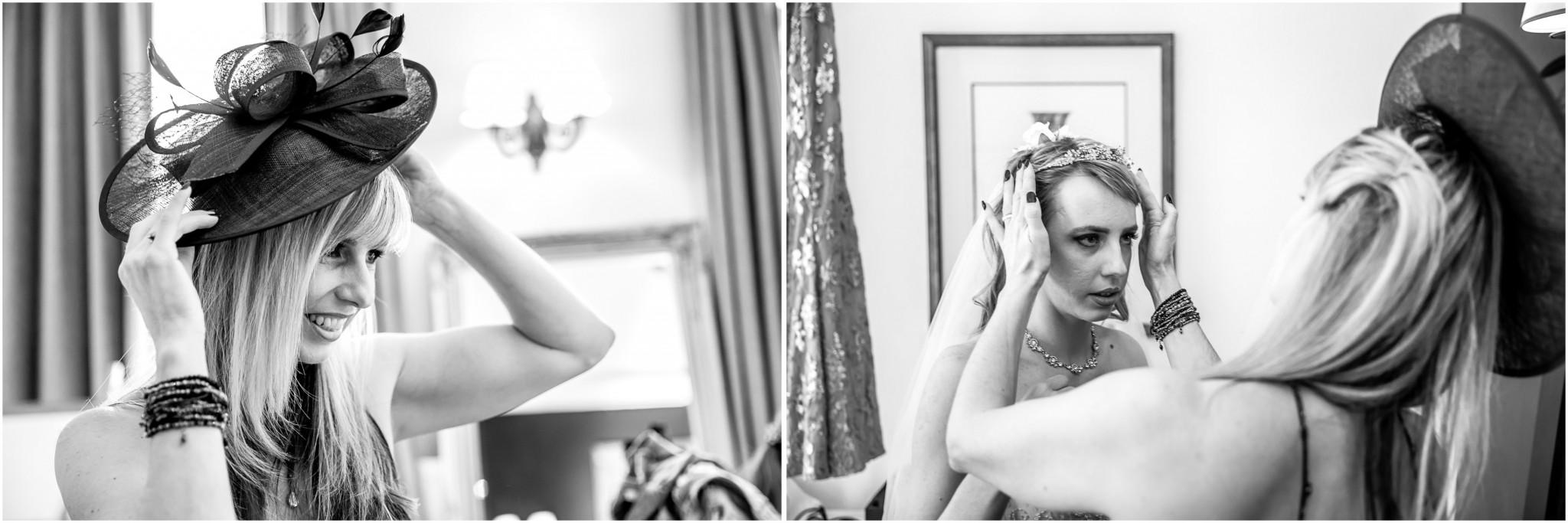 Highfield Park Wedding Photography Bride adjusting tiara