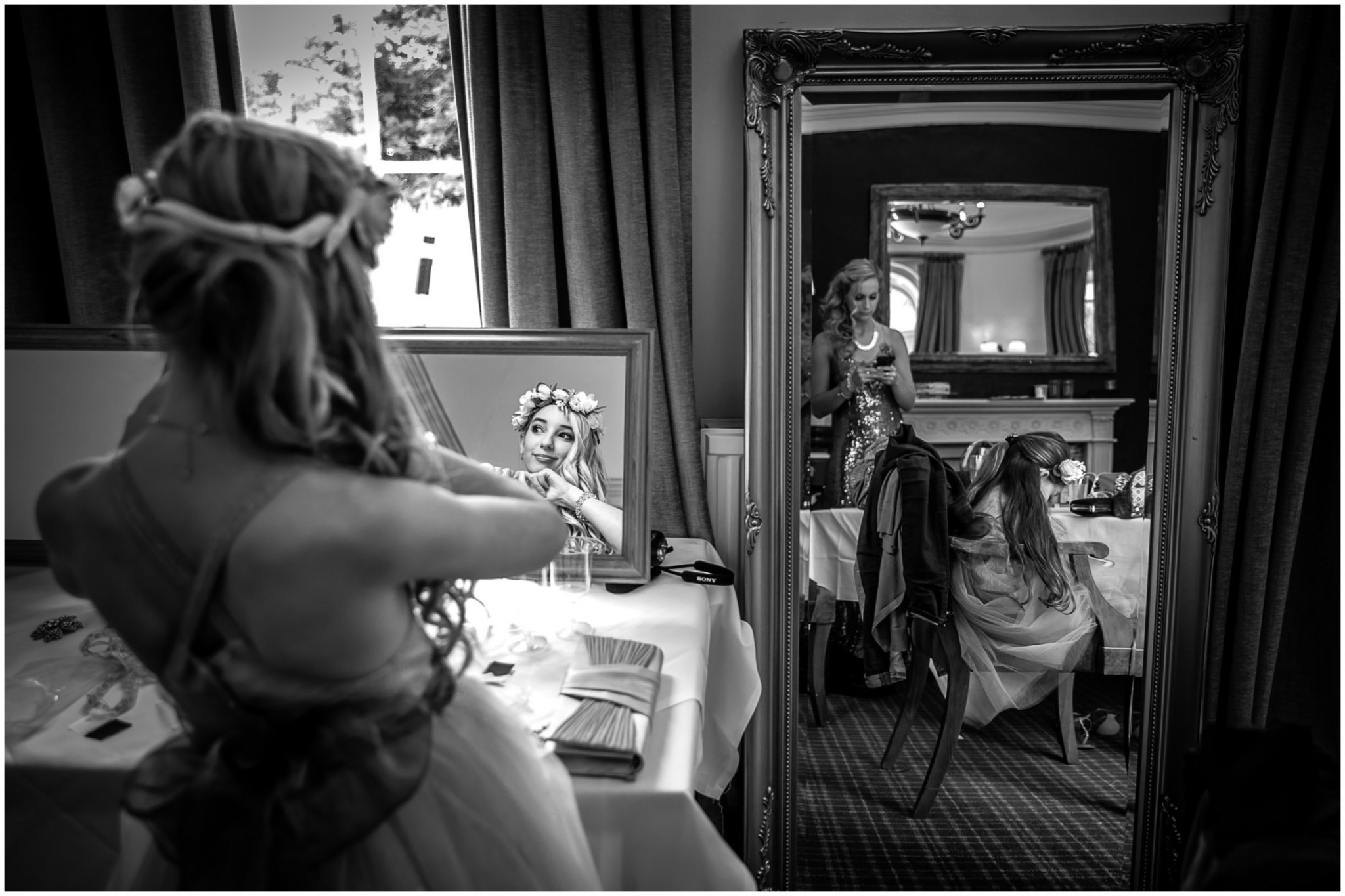 Highfield Park Wedding Photography Bridesmaid looking in mirror