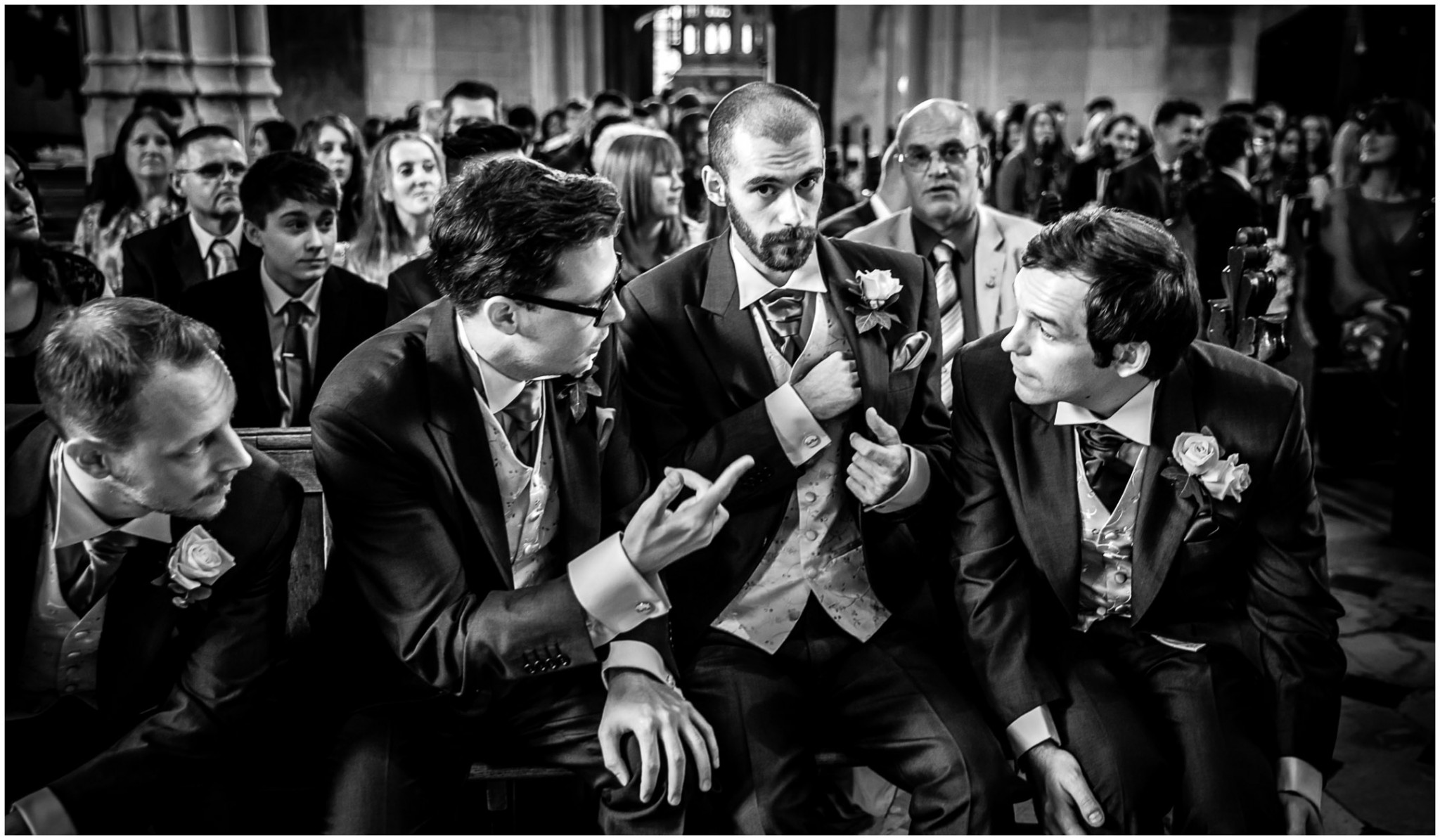 Highfield Park Wedding Photography Groom with Best Man and Ushers