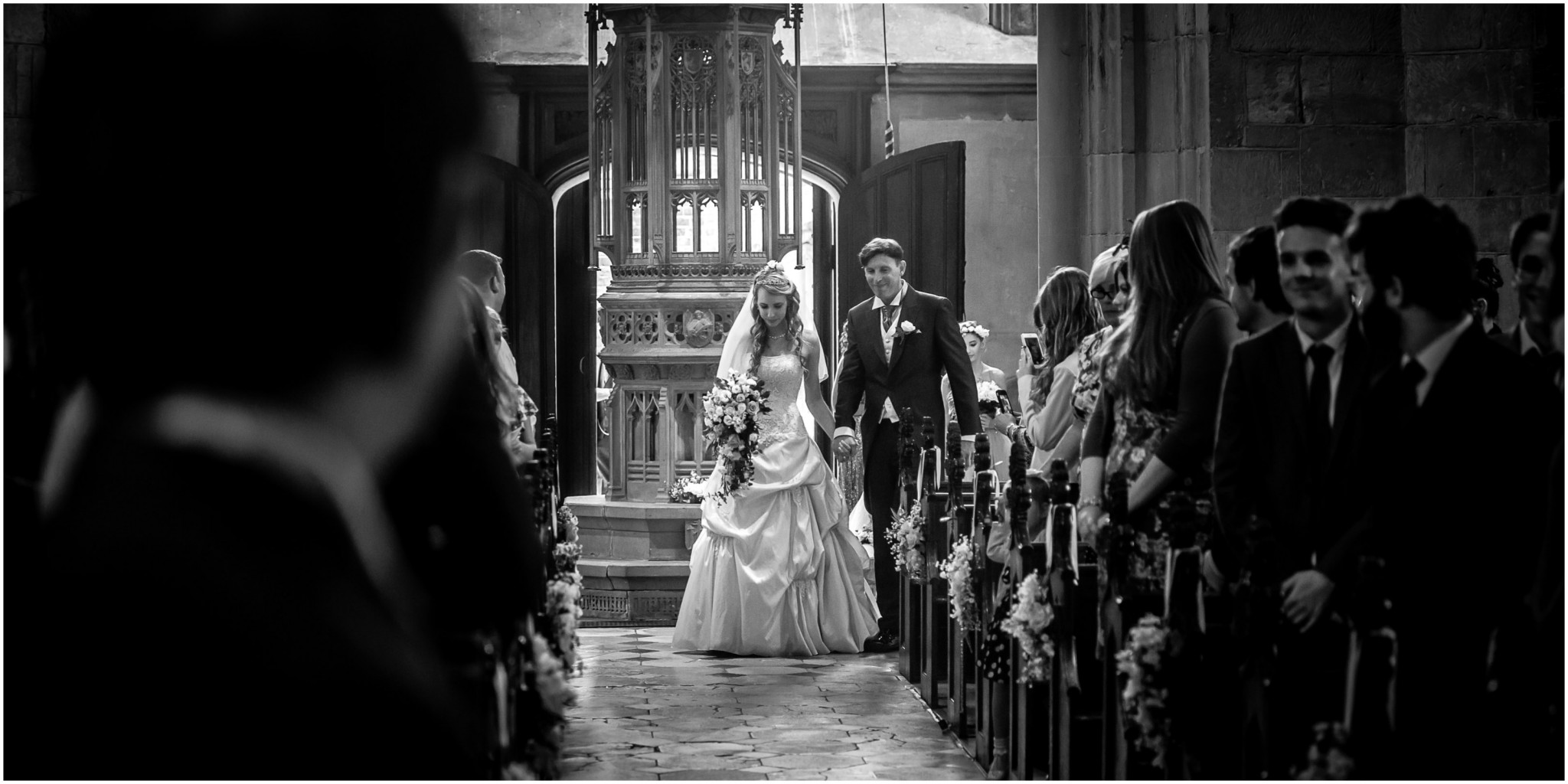 Highfield Park Wedding Photography Bride walking down the aisle