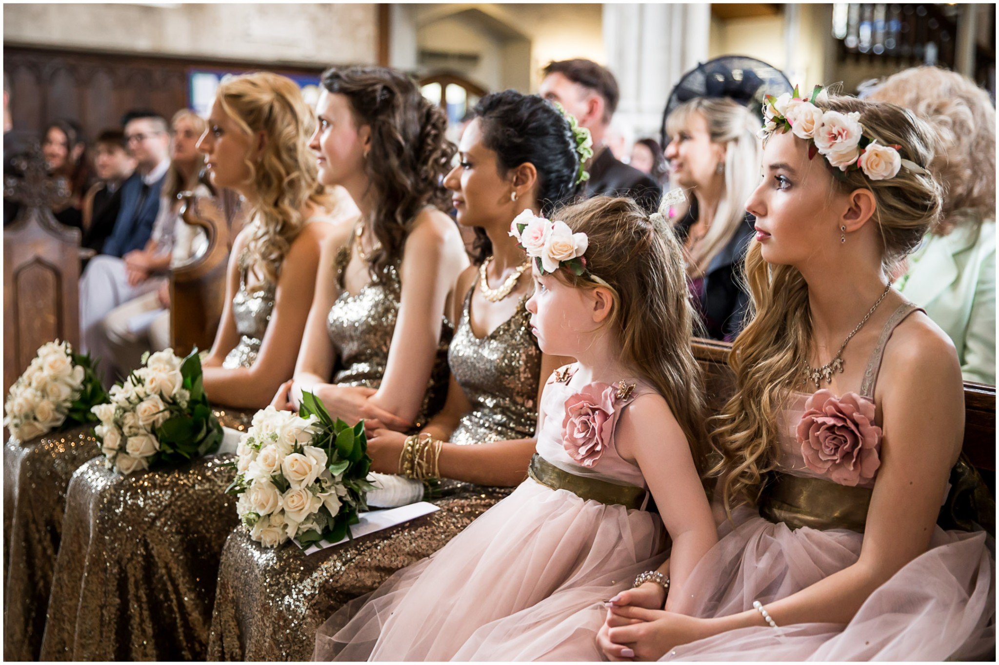 Highfield Park Wedding Photography Bridesmaids during blessing