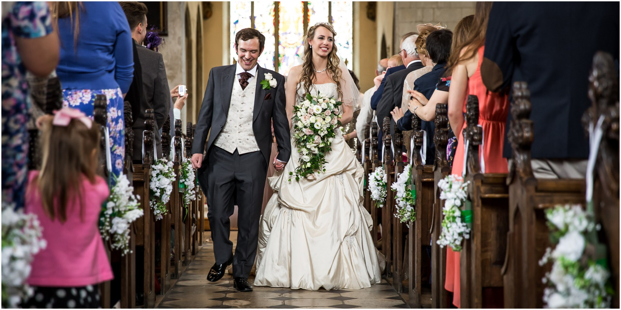 Highfield Park Wedding Photography Bride & Groom walking down the aisle