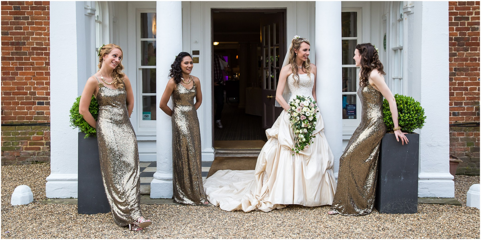 Highfield Park Wedding Photography Bride with Bridesmaids outside entrance to the hotel