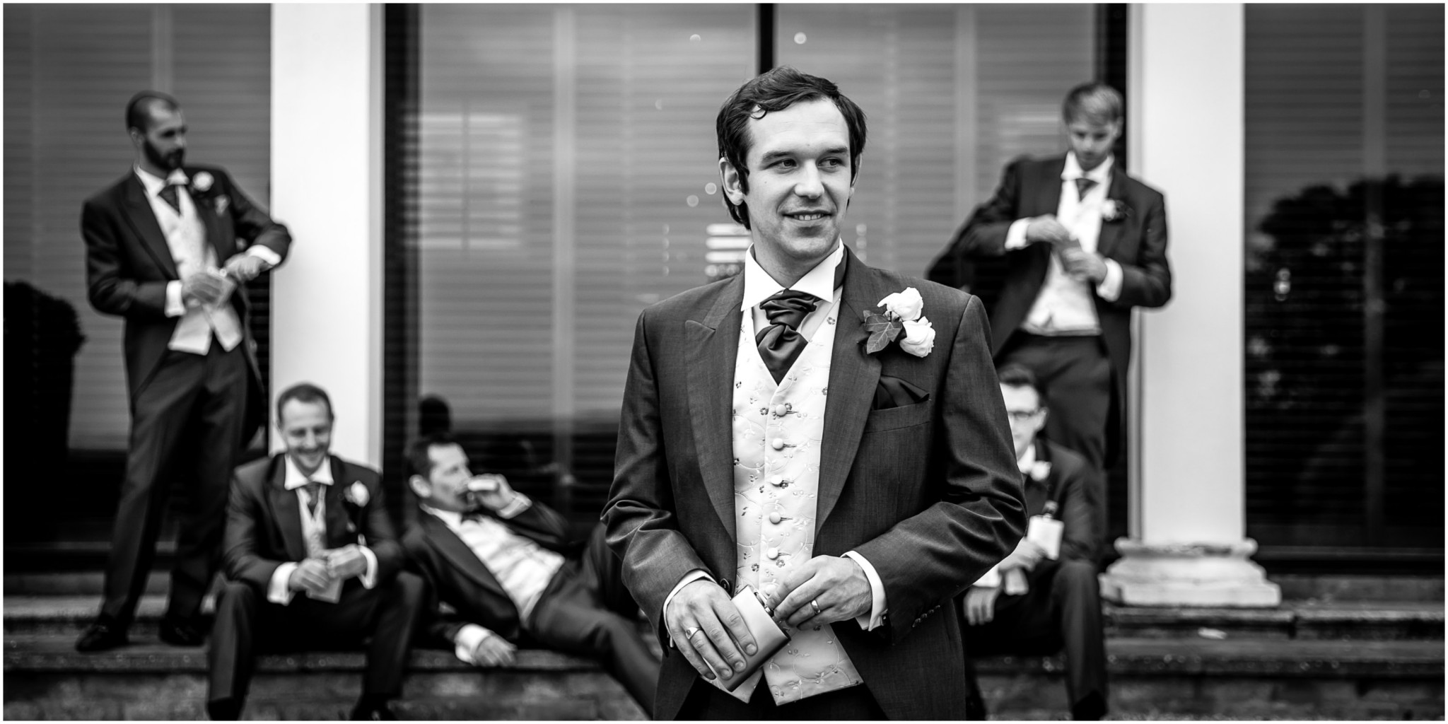Highfield Park Wedding Photography Groom with Ushers outside hotel