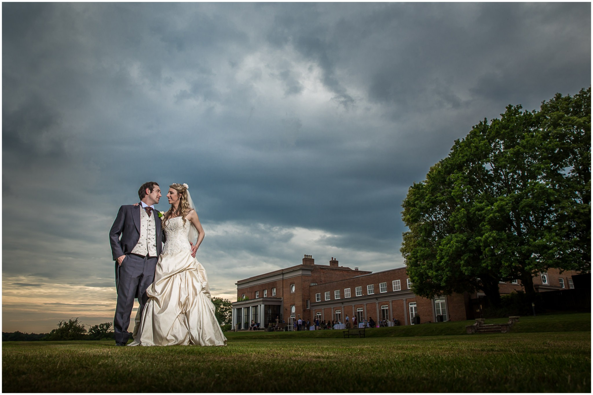 Highfield Park Wedding Photography Bride and Groom dramatic sky