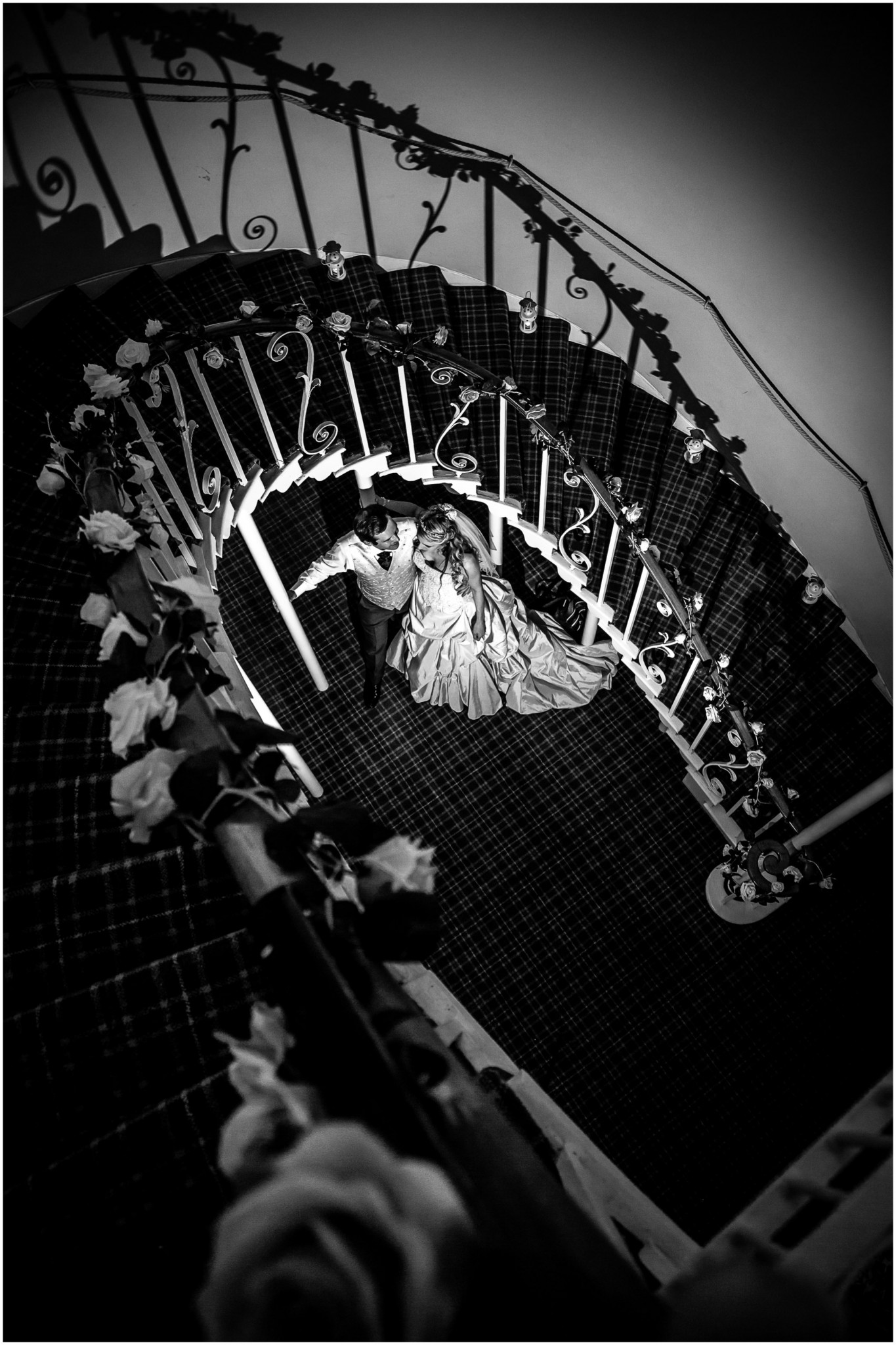 Highfield Park Wedding Photography Bride & Groom in spiral staircase
