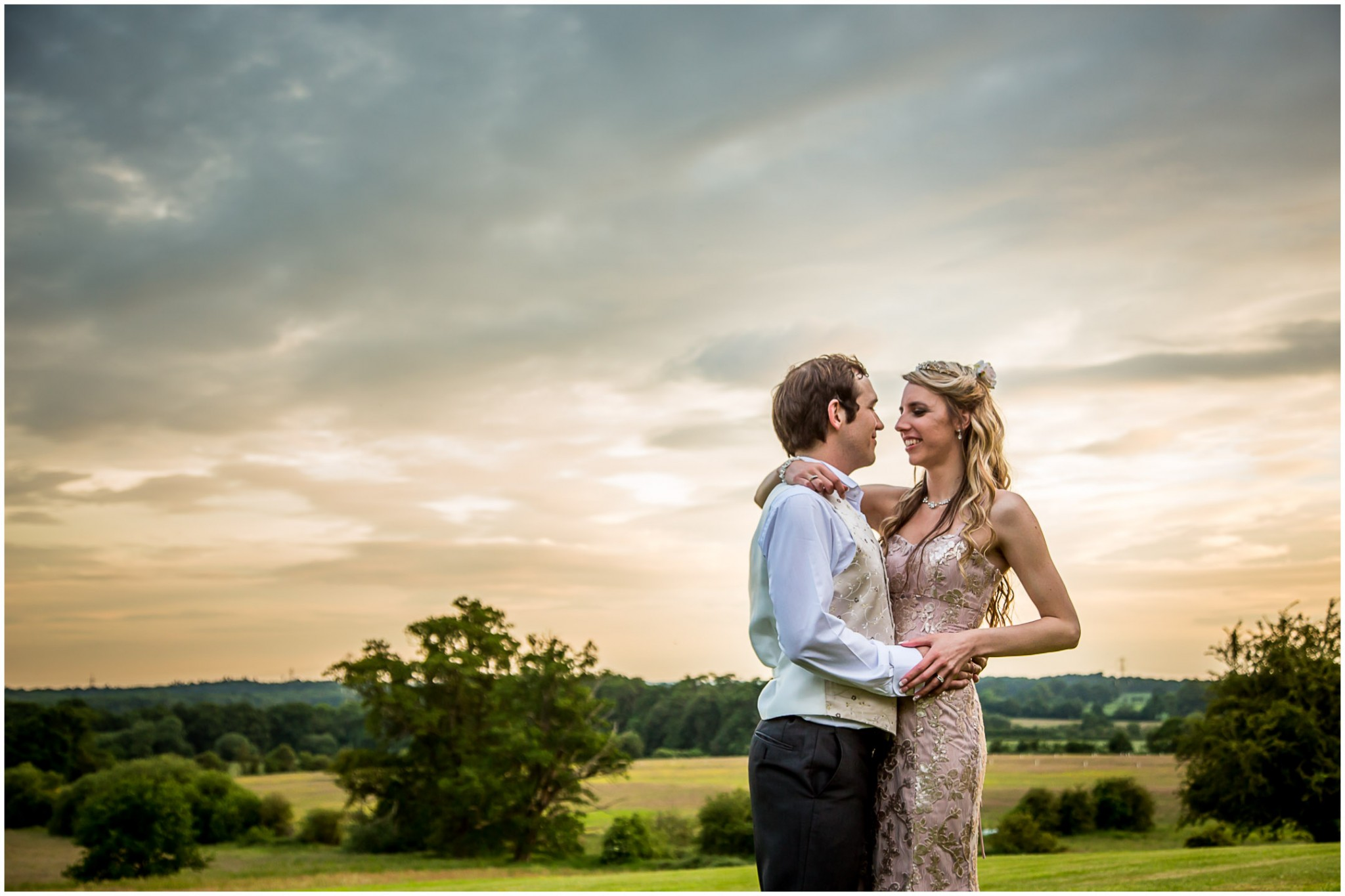 Highfield Park Wedding Photography Bride and Groom at sunset