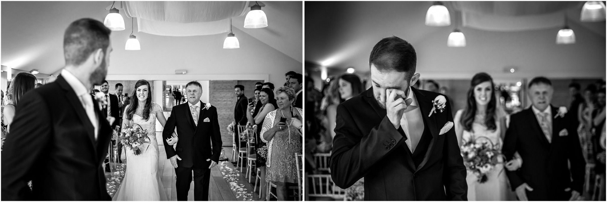 Wasing Park Wedding Photography Groom reaction to Bride
