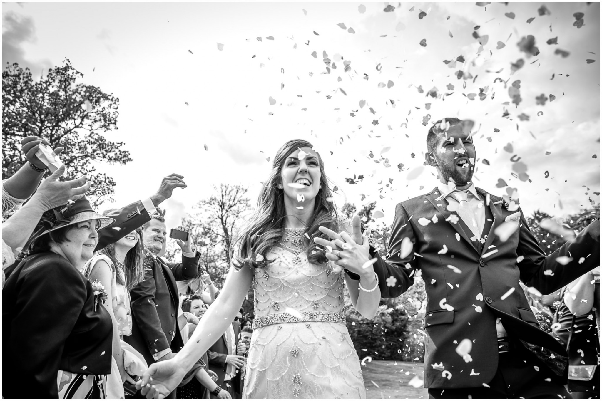 Wasing Park Wedding Photography Confetti black and white
