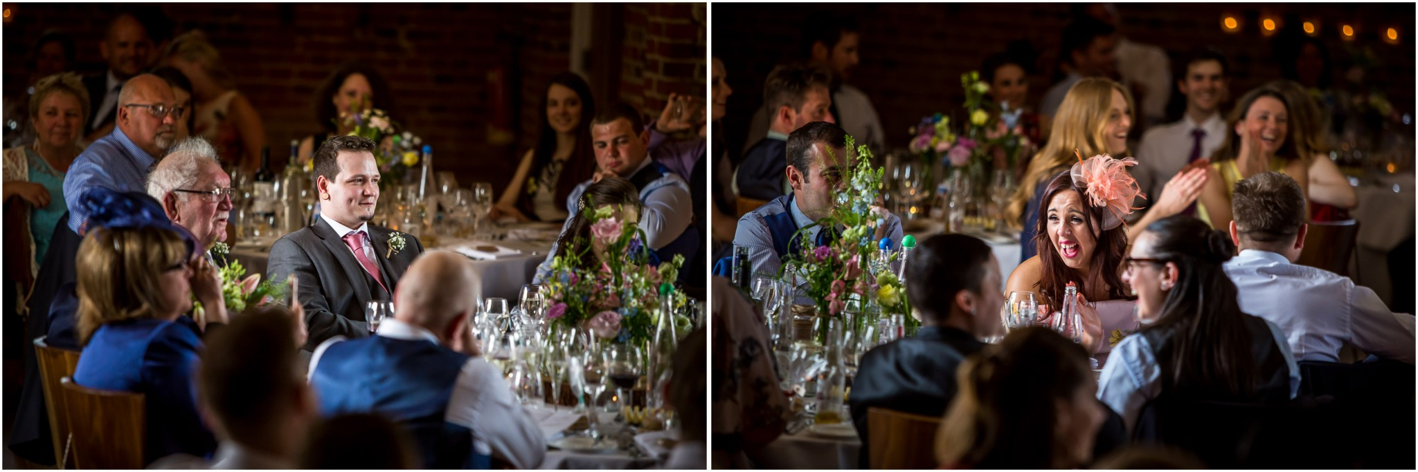 Wasing Park Wedding Photography guests laughing at speeches