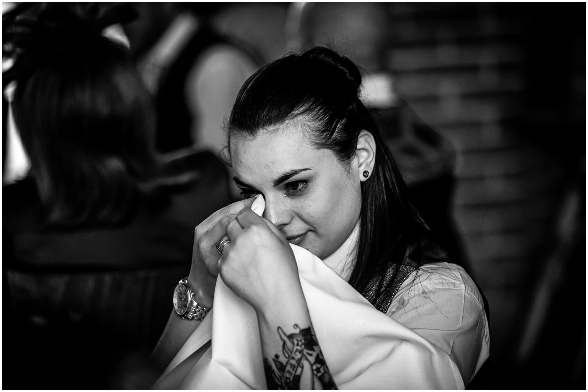 Wasing Park Wedding Photography emotional guest listening to speech