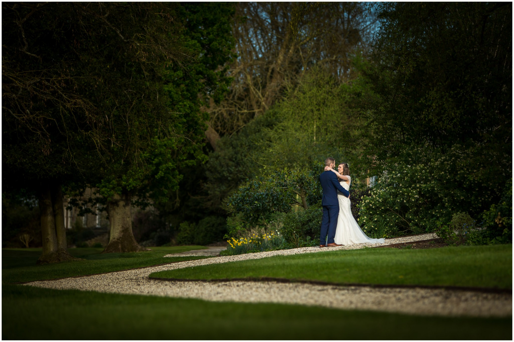 Wasing Park Wedding Photography Bride & Groom in the gardens