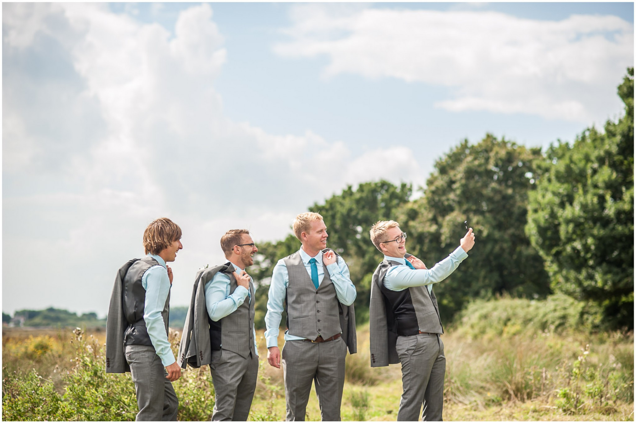 Tournerbury Woods Estate wedding Groom and Ushers taking selfie