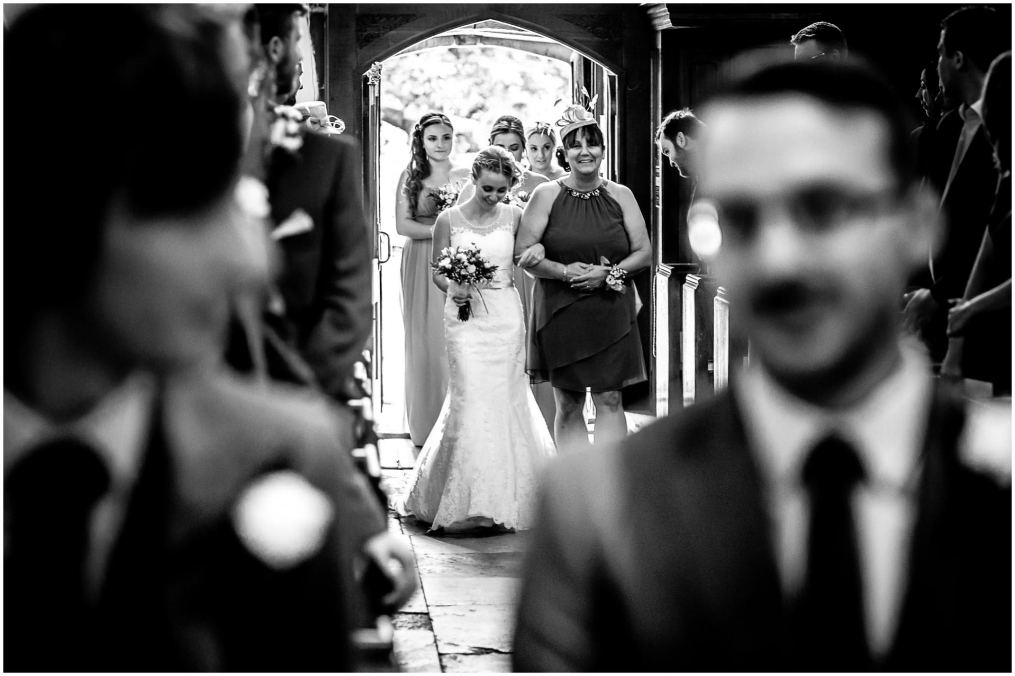 St Thomas a Becket Church Wedding Bride walking down the aisle