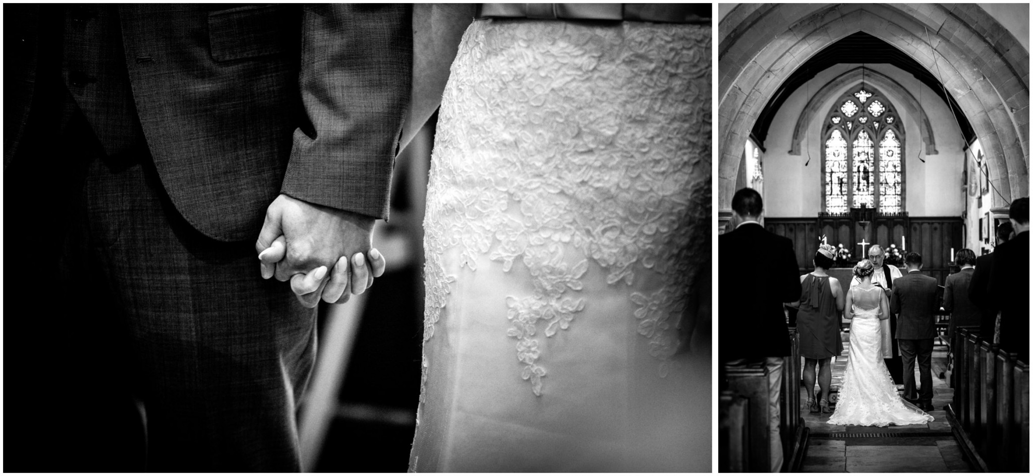 St Thomas a Becket Church Wedding bride & Groom holding hands