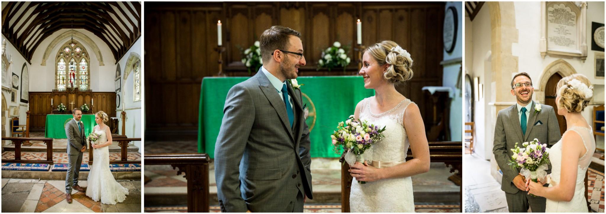 St Thomas a Becket Church Wedding Bride & Groom at altar