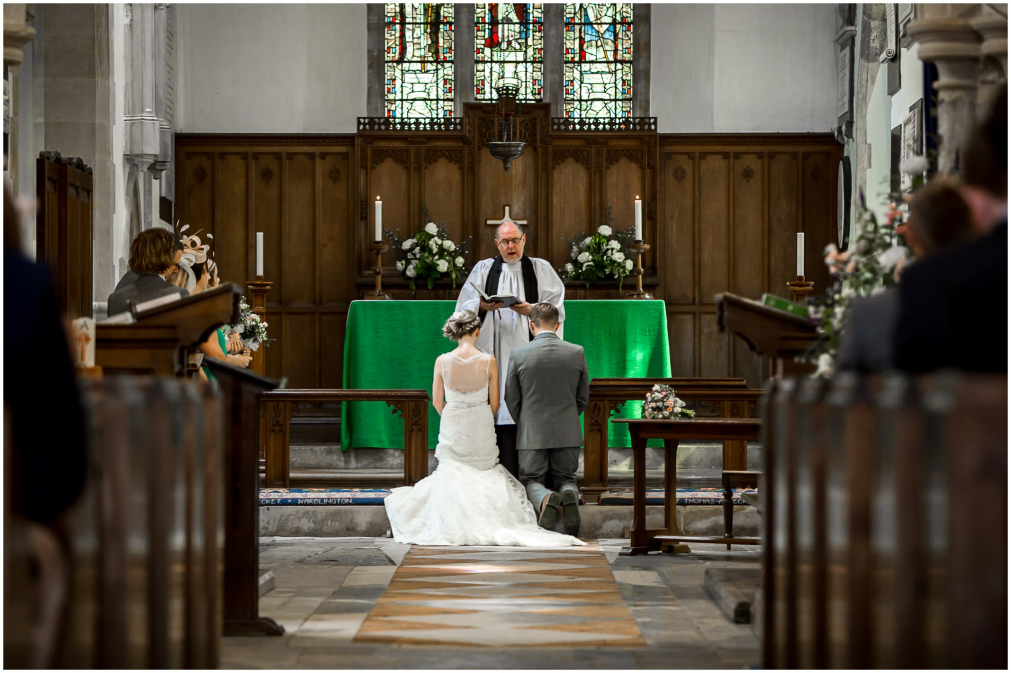 St Thomas a Becket Church Wedding kneeling for blessing