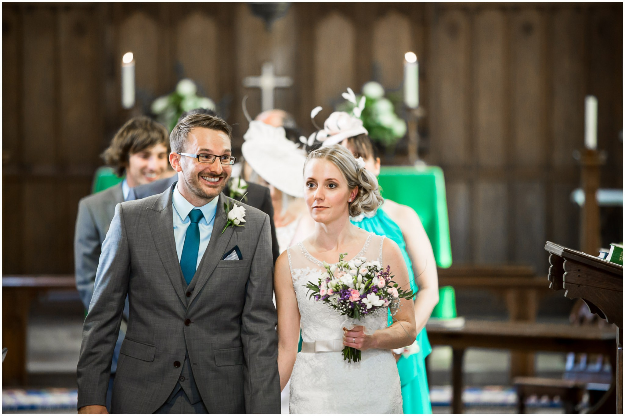 St Thomas a Becket Church Wedding Bride & Groom walking down the aisle