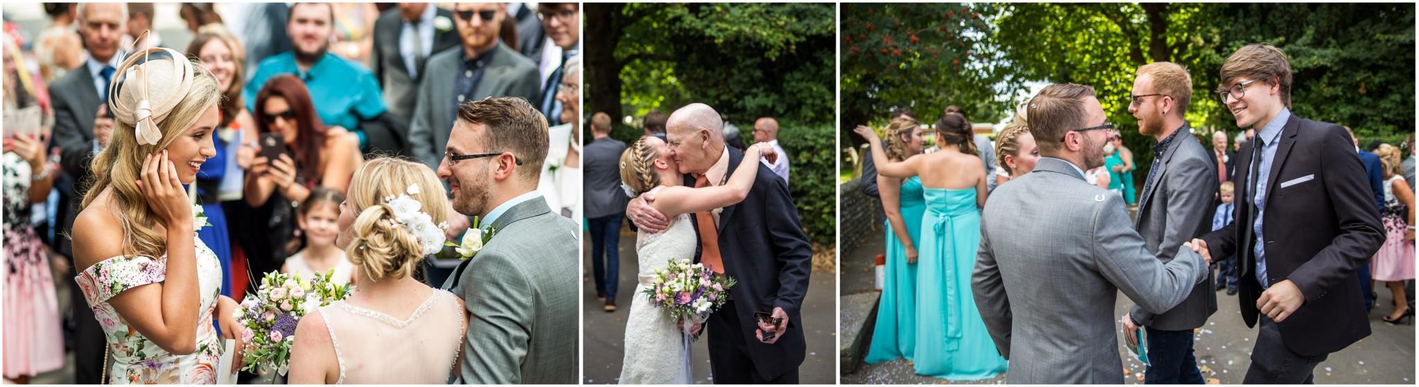 St Thomas a Becket Church Wedding Guests congratulate the Bride & Groom