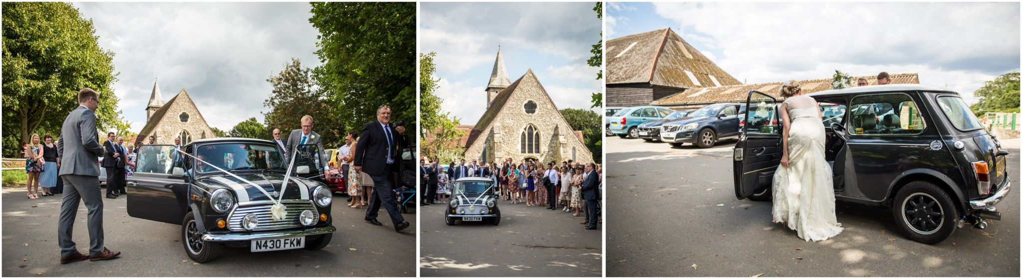 St Thomas a Becket Church Wedding Mini as Wedding Car