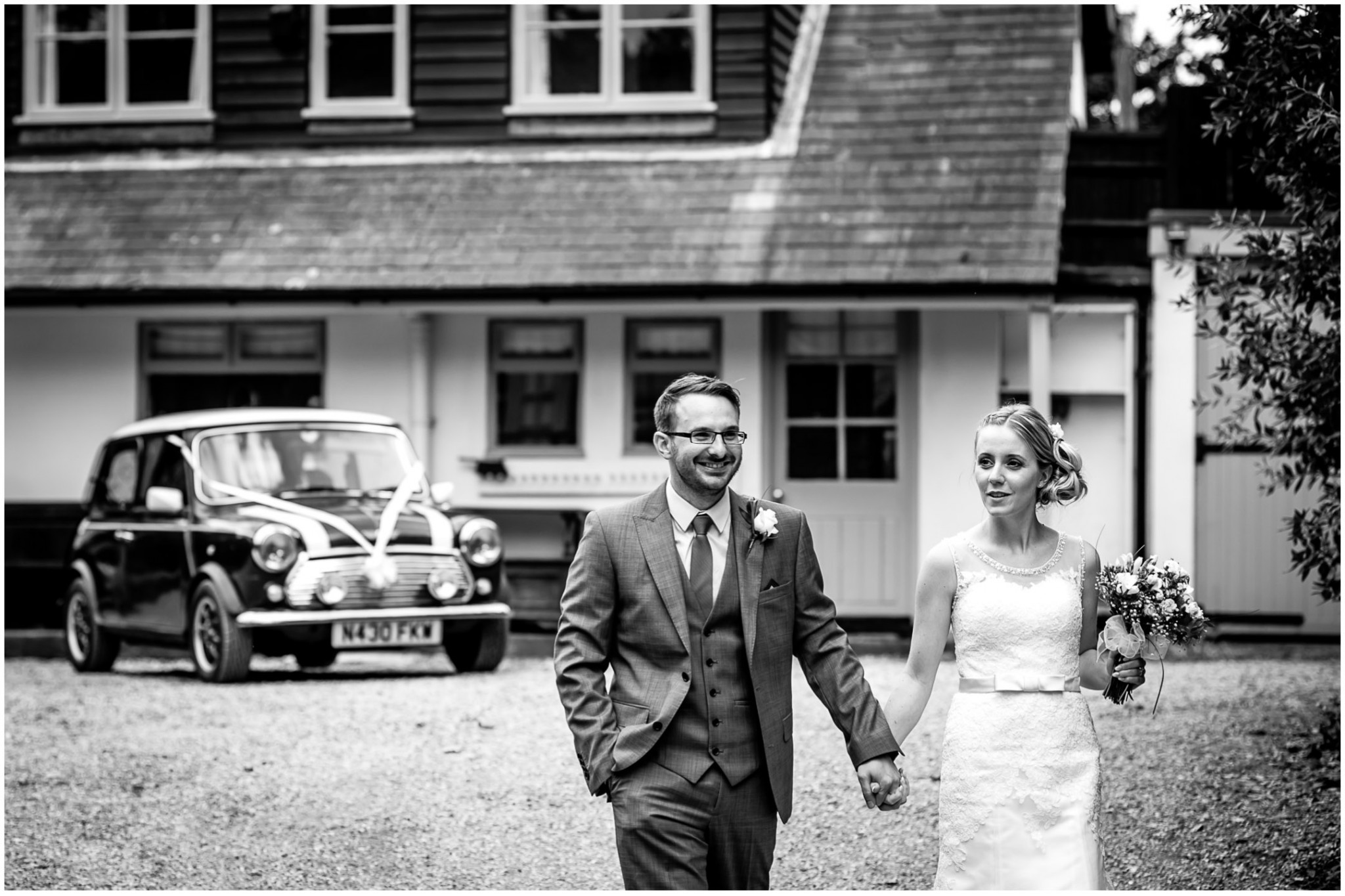 Tournerbury Woods Estate Wedding Bride & Groom arriving at venue