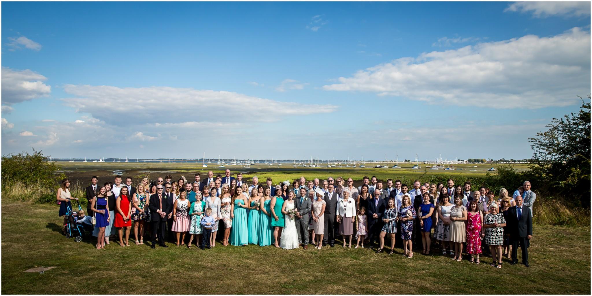 Tournerbury Woods Estate Wedding Whole Guests Group Shot