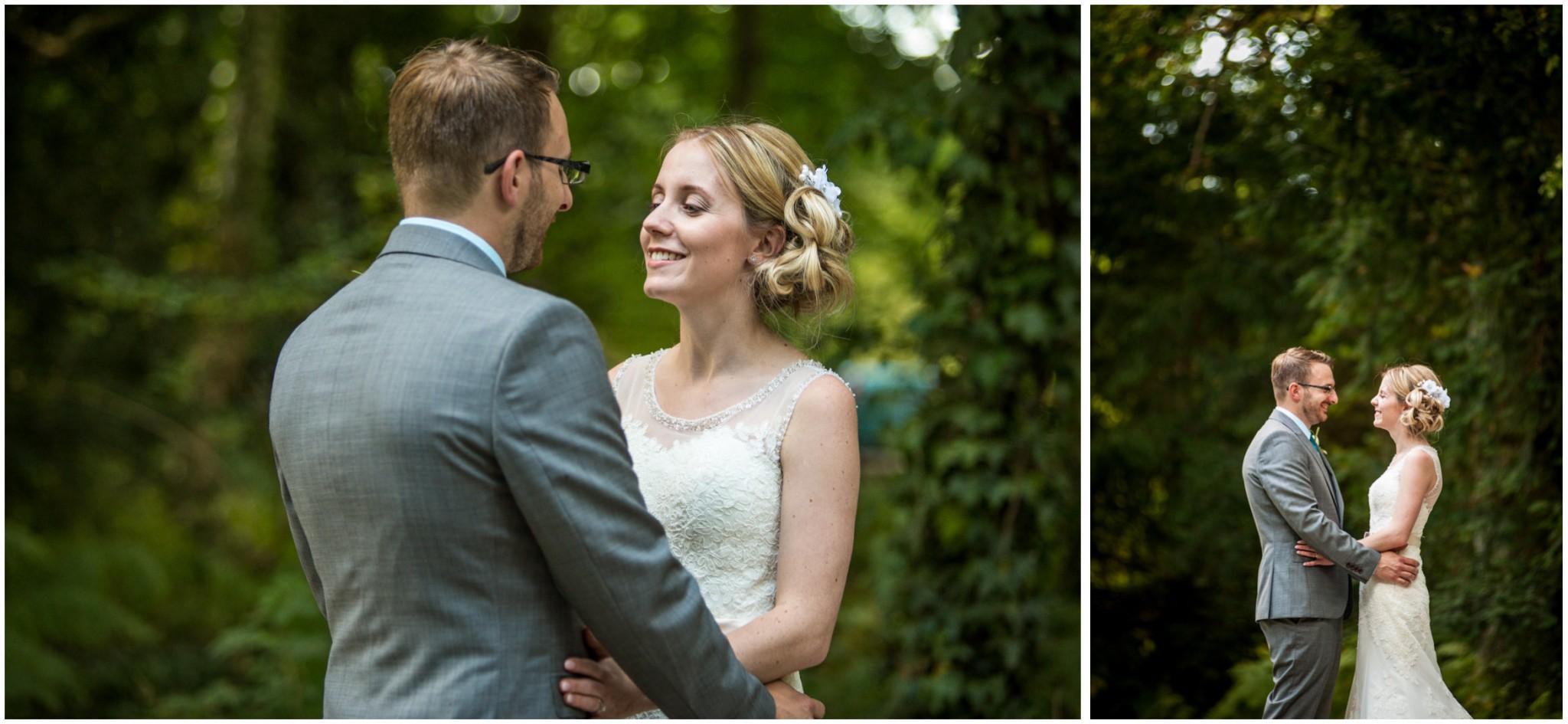 Tournerbury Woods Estate Wedding Bride & Groom Portrait in Woods