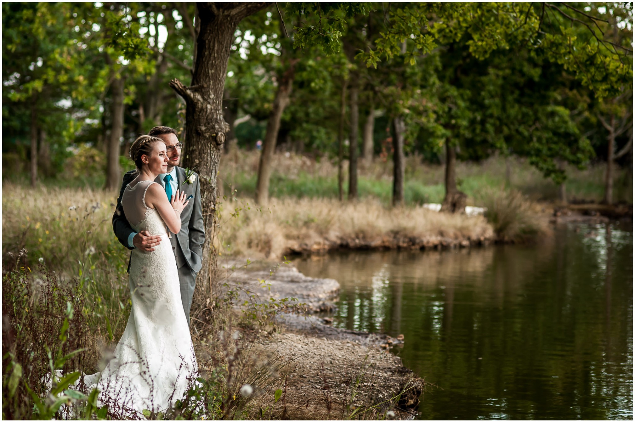 Tournerbury Woods Estate Wedding Bride & Groom by lake