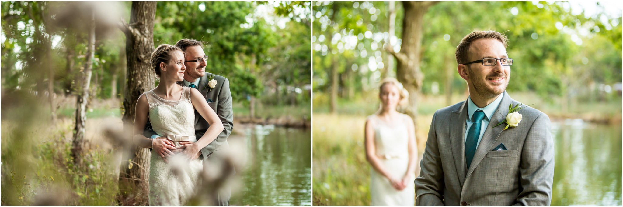 Tournerbury Woods Estate Wedding Groom & Bride by lake