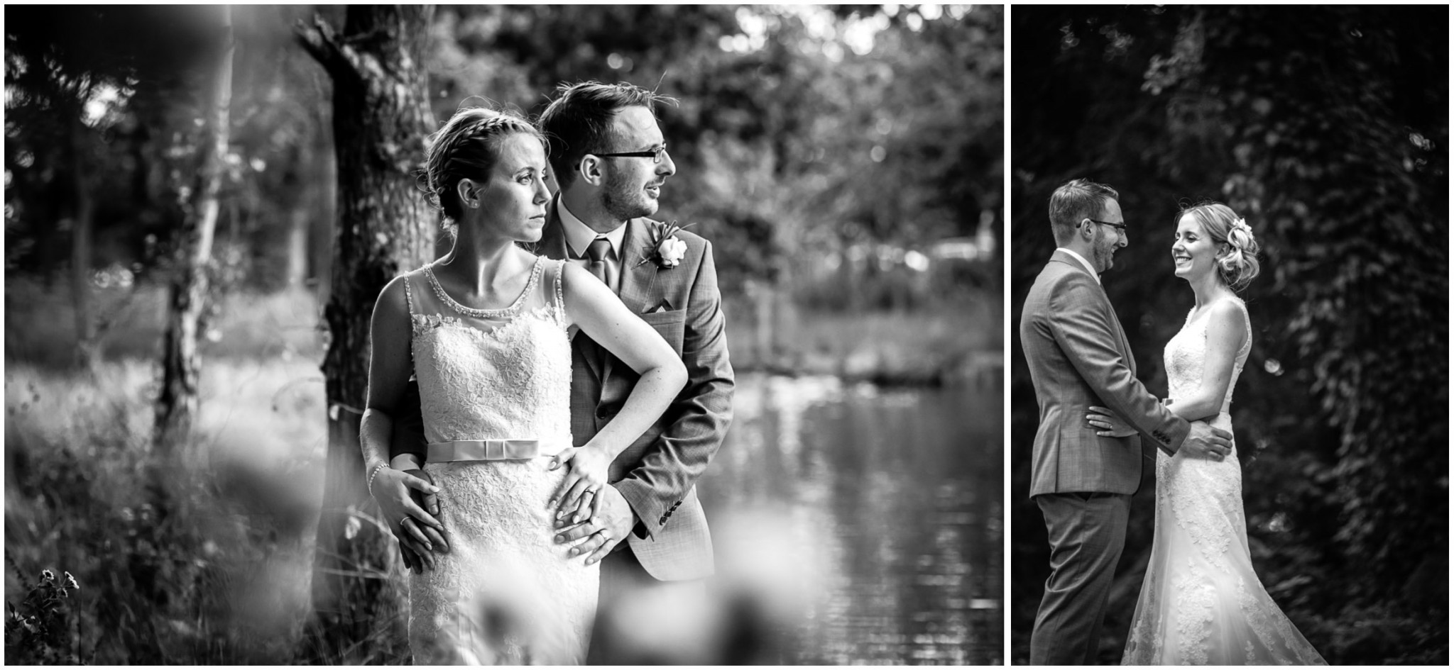 Tournerbury Woods Estate Wedding Bride & Groom portraits by lake