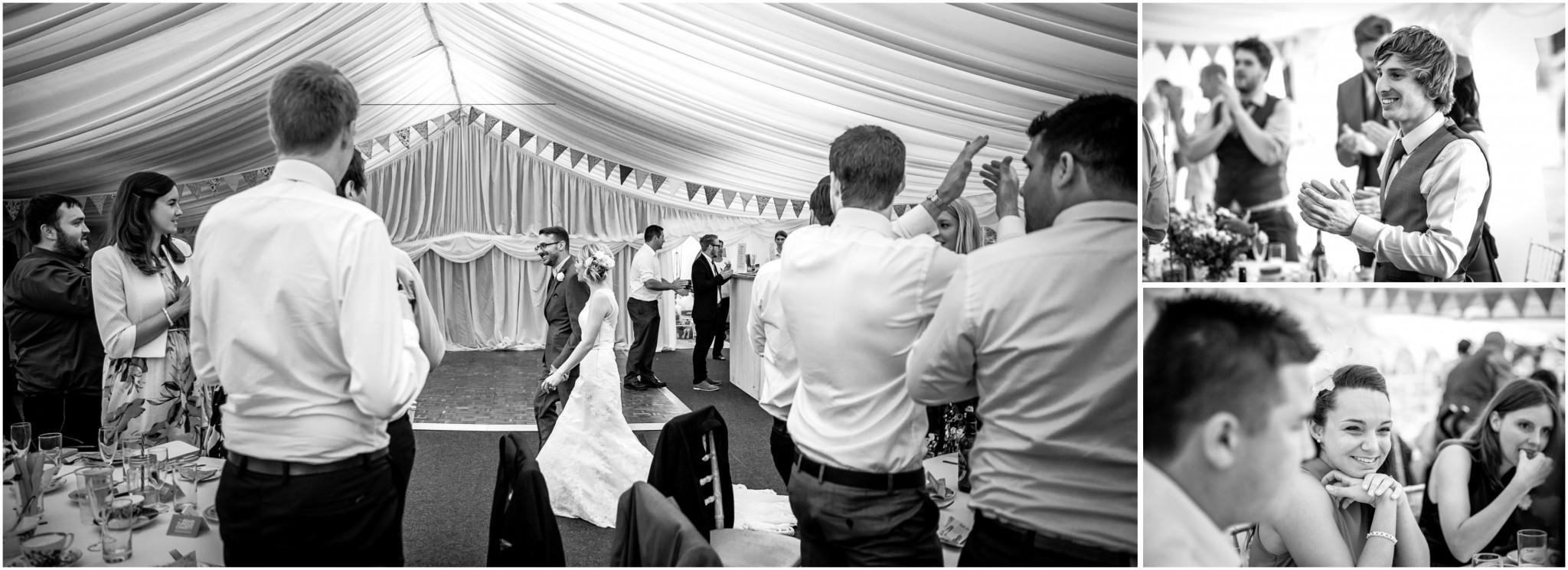 Tournerbury Woods Estate Wedding Bride & Groom entering the marquee