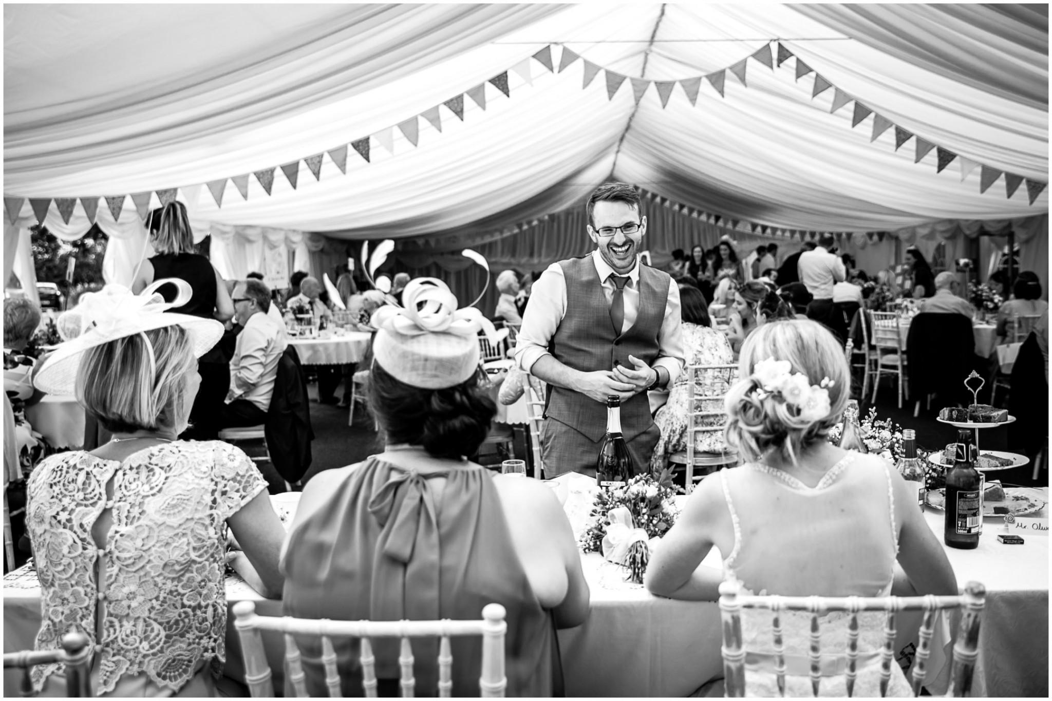 Tournerbury Woods Estate Wedding Groom laughing with Bride