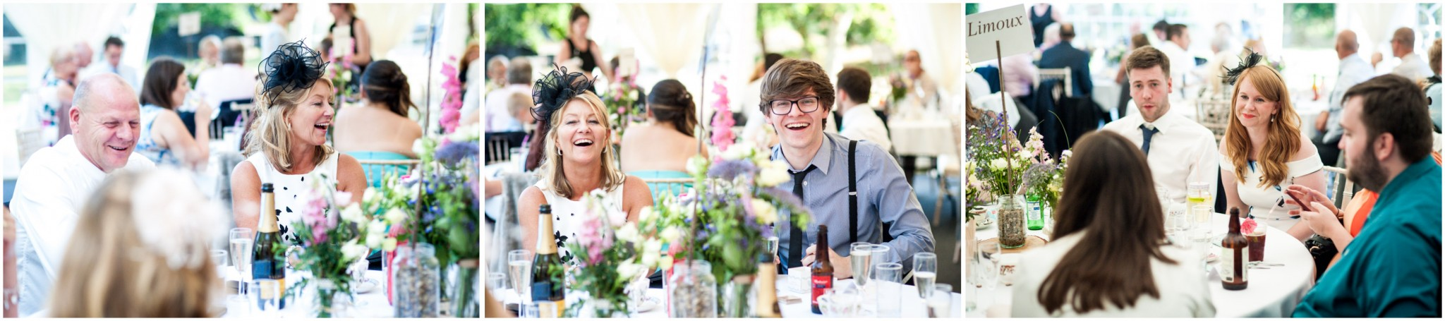 Tournerbury Woods Estate Wedding Guests laughing