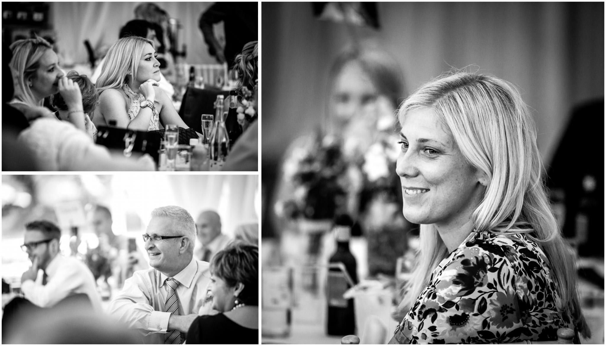 Tournerbury Woods Estate Wedding Guests listening to speeches