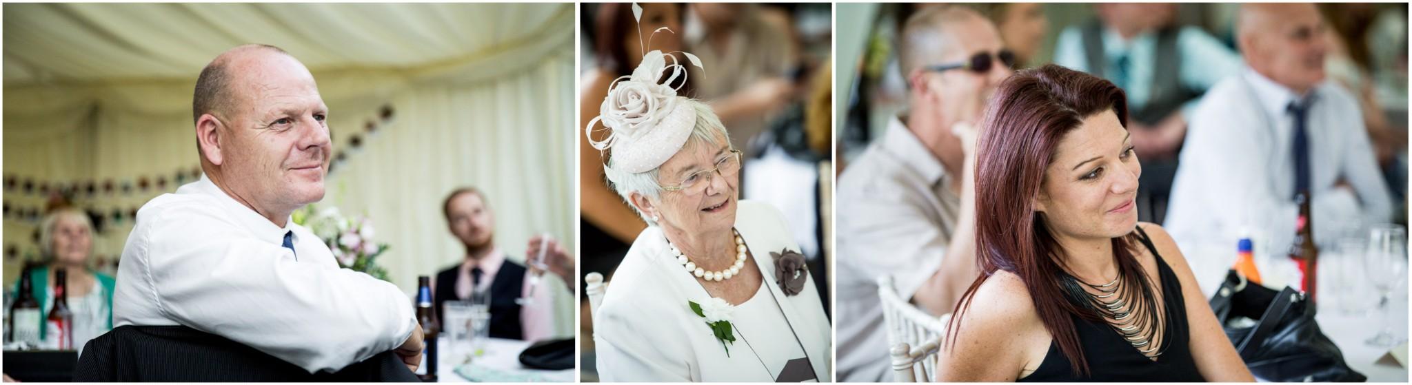Tournerbury Woods Estate Wedding Guests listen to Groom play ukelele