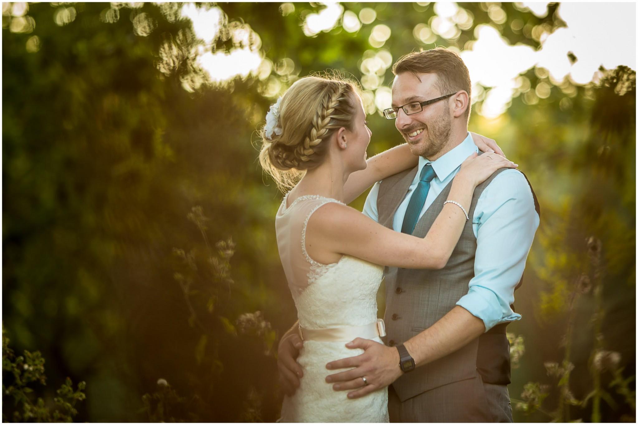 Tournerbury Woods Estate Wedding Bride & Groom in Golden light