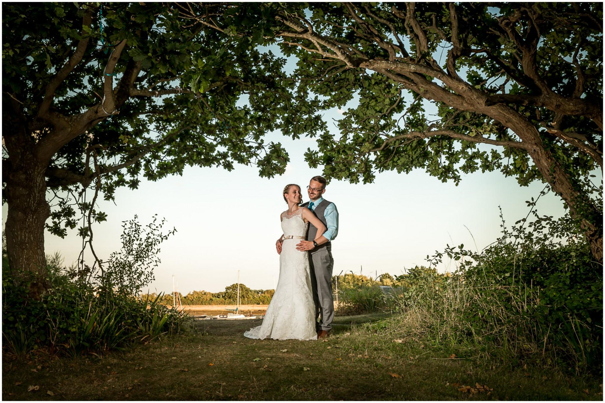 Tournerbury Woods Estate Wedding bride & Groom in tunnel of trees